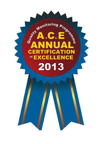 Ace Annual Certification of Excellence 2013